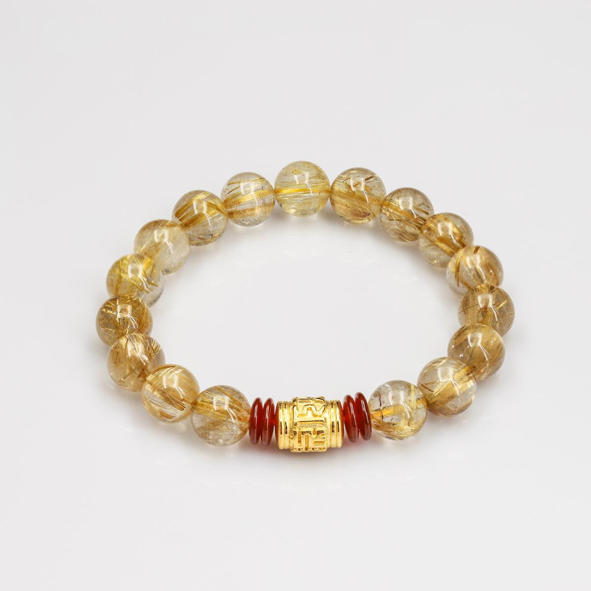 Vòng Thạch Anh Tóc vàng 11M 5A Tự Nhiên Mix  Lu vàng 9999