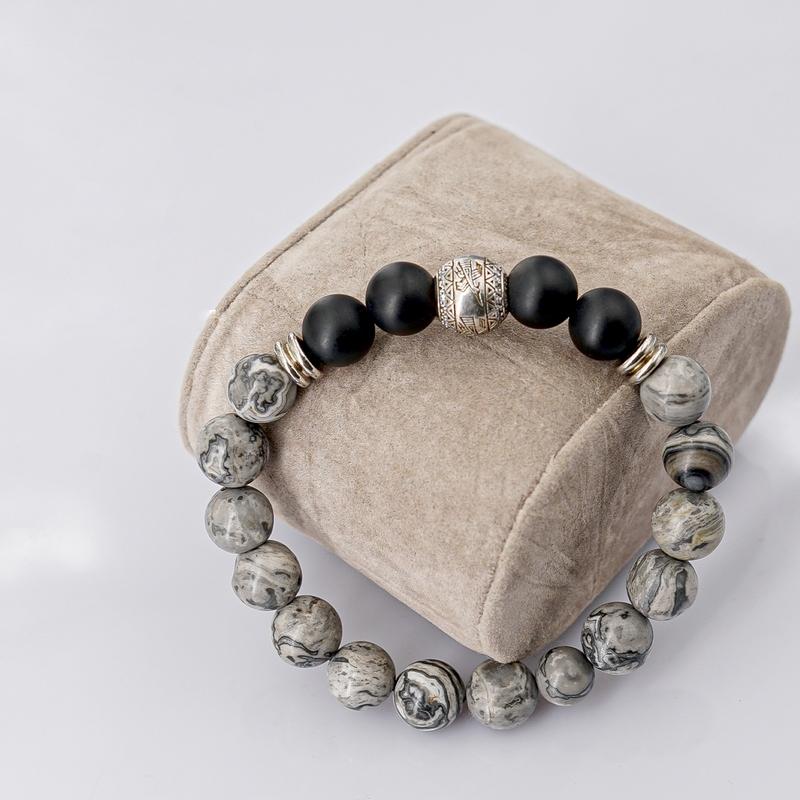 Vòng Tay Đá Grey Jasper Mix Đá Obsidian 10mm + Charm Hạc