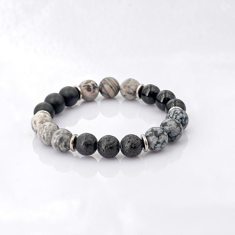 Vòng Tay Đá Jasper Mix đá Obsidian +Mã Não 10mm