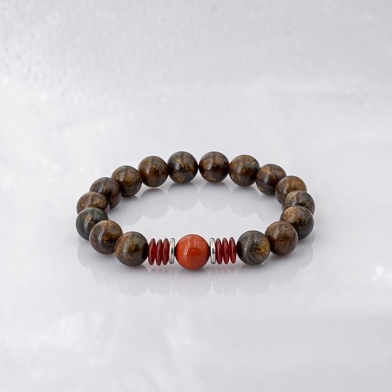 Vòng Tay Đá Bronzite 10mm mix đá Jasper đỏ + Khoen bạc
